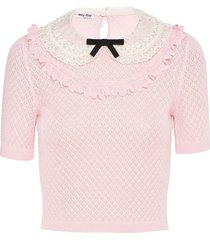 miu miu peter pan lace collar knitted top - pink