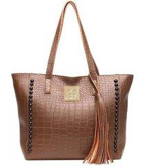 bolsa sacola croco com metais alice monteiro feminina