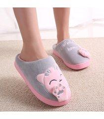 tejido de algodón zapatillas antideslizante suela gruesa pantuflas para parejas amante