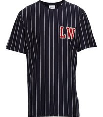 striped tee w. application s/s t-shirts short-sleeved blauw lindbergh