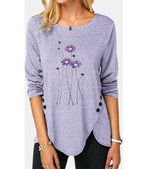 camicetta con bottoni asimmetrici a manica lunga stampata a fiori o-collo per donna