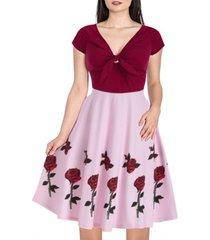 raglan sleeve rose flower print contrast dress