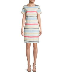 striped linen-blend sheath dress