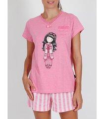 pyjama's / nachthemden admas pyjamashort t-shirt goodnight gorjuss santoro roze