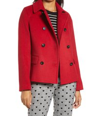 women's halogen x atlantic-pacific short double breasted coat, size large - red