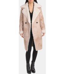 avec les filles asymmetrical faux-shearling coat