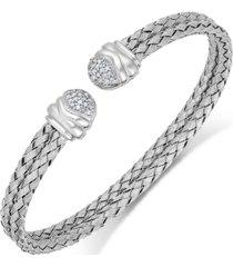 diamond weave cuff bracelet in sterling silver (1/5 ct. t.w.)