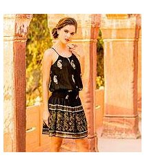 viscose sleeveless a-line dress, 'paisley midnight' (india)