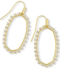 kendra scott 14k gold-plated cubic zirconia open frame drop earrings