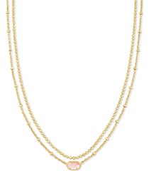 """kendra scott gold-tone emilie two-row strand necklace, 15-1/2"""" + 3"""" extender"""