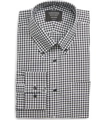 men's big & tall nordstrom classic fit non-iron gingham dress shirt, size 17.5 - 38/39 - black