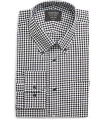 men's nordstrom classic fit non-iron gingham dress shirt, size 17 - 34/35 - black