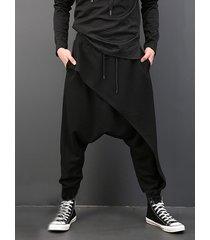hombres casual harem de cintura suelta con cordón pantalones
