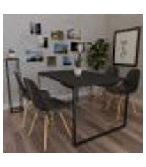 mesa de jantar veneza industrial preto com 04 cadeiras eiffel charles eames preto - amarena móveis