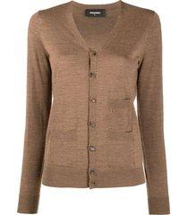 dsquared2 fine knit multi-pocket cardigan - brown