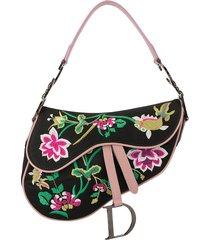 christian dior pre-owned 2000s floral embroidery saddle shoulder bag -