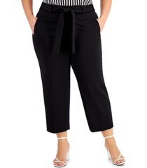 bar iii plus size cropped tie-front pants, created for macy's