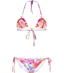 emilio pucci sequinned floral-print triangle bikini - pink