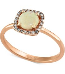 aurora by effy opal (3/4 ct. t.w.) and diamond accent ring in 14k rose gold