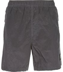 stone island logo patch swim shorts - grey