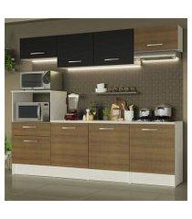 cozinha completa madesa onix 240002 com armario e balcão branco/rustic/preto 097k branco/rustic/preto