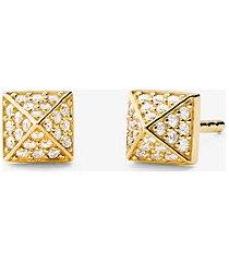 mk orecchini a bottone piramidali in argento sterling con placcatura in metallo prezioso e pavé - oro (oro) - michael kors
