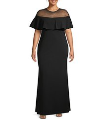 plus embellished illusion off-the-shoulder gown