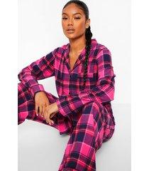 mix & match flanelen geruite pyjama broek, roze