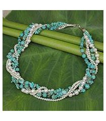 cultured pearl and calcite torsade necklace, 'blue sea' (thailand)