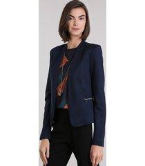 blazer feminino com zíper azul marinho