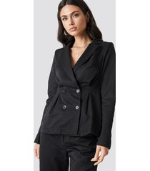 na-kd classic gathered waist double breasted blazer - black