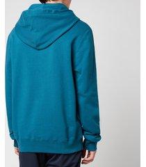 lanvin men's embroidered hoodie - indigo - l
