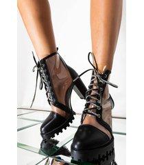 akira azalea wang being cute on my day off chunky heel bootie in black