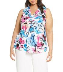plus size women's nic + zoe vibrant flora cowl neck tank