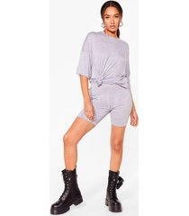 womens petite oversized t-shirt and biker shorts set - grey