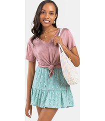 cate flowy floral mini skirt - sage