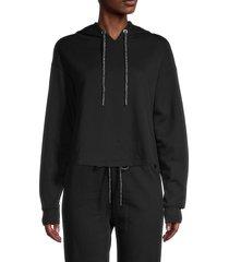 lea & viola women's cropped hoodie - black - size l