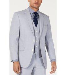 tommy hilfiger men's modern-fit th flex stretch chambray suit jacket