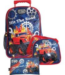 kit mochila santino com rodinhas speed car com lancheira e estojo sck18202