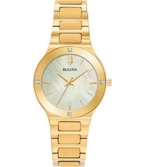 bulova women's modern diamond-accent gold-tone stainless steel bracelet watch 32mm