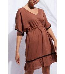 calzedonia pom pom dress woman brown size tu