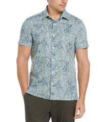 men's all over oil paint print short sleeve button - down shirt