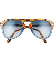 persol 54mm gradient foldable pilot sunglasses - brown tort/ opal blue gradient