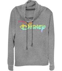 fifth sun juniors disney logo disney rainbow fill fleece cowl neck sweatshirt
