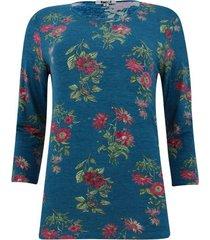 camiseta con estampado floral manga 3/4 color azul, talla xs