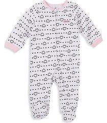 baby girl's heart-print cotton footie