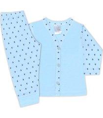 conjunto pijama bebê com botões losango azul - look infantil