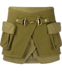 balmain high-waisted cotton skirt - green