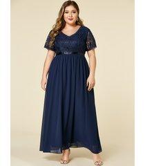 yoins plus talla azul marino inserción de encaje mangas cortas vestido