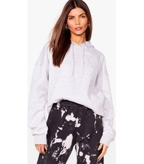 womens a big believer oversized pullover hoodie - grey